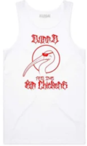 Dunn D Bin Chickens Singlet White and Red